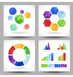 Set of charts with abstract triangles vector