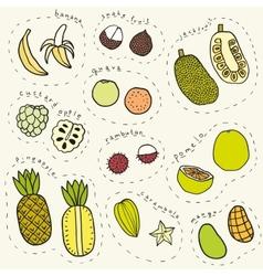 Set of hand drawn tropical fruits part 1 vector