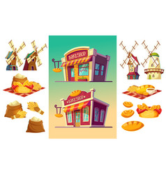 set of icons for a bakery two bake shop freshly vector image vector image