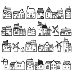Set painted houses vector