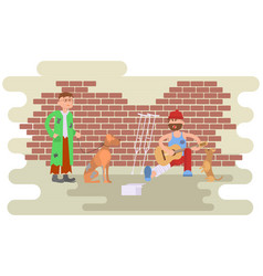 Tramp person with homeless dog vector