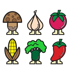 Vegetable icons colour 1 vector