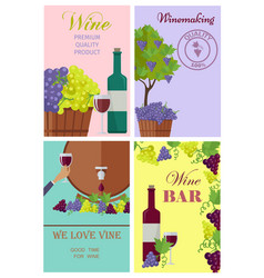 Winemaking and wine bar promotional posters set vector