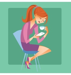 Young woman sitting with a cup of coffee or tea vector