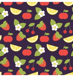 Seamless pattern with apples strawberries and vector