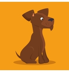 Brown dog lovely icon graphic vector