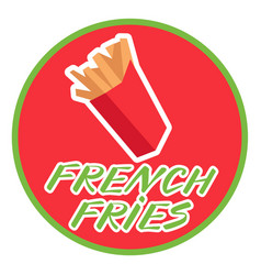 french fries in a box icon in flat style on a vector image