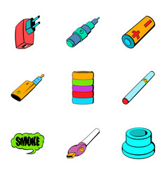 battery icons set cartoon style vector image