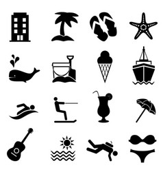 Beach and summer resort icons vector