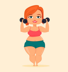 Fat woman doing exercises with dumbbells girl vector