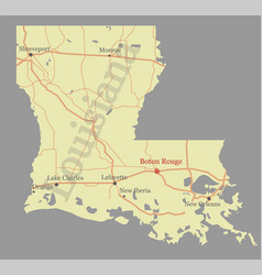 Louisiana accurate exact detailed state map with vector