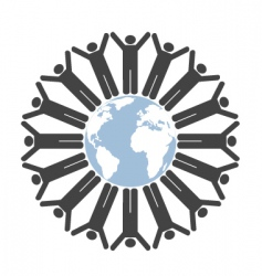 people globe vector image