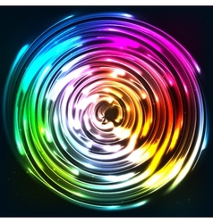 Rainbow colors shining neon lights disc vector