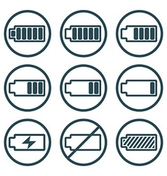 Battery charge indicator icons isolated on white vector