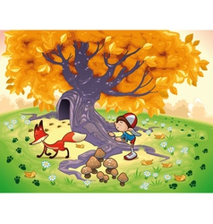 Boy and fox in the wood vector