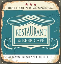 Retro tin sign for restaurant or beer cafe vector image