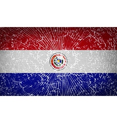 Flags paraguay with broken glass texture vector
