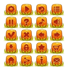 Set of orange buttons with web icons vector