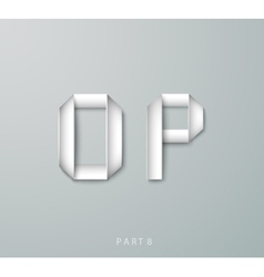 Paper origami alphabet o p with shadows vector