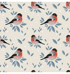 Bullfinches with foliage and snow pattern vector
