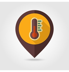Thermometer retro flat pin map icon weather vector