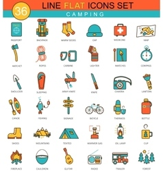 Camping flat line icon set modern elegant vector