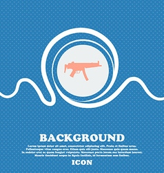 Machine gun sign icon blue and white abstract vector