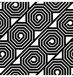 Abstract Black and White Octagon Spiral Seamless vector image