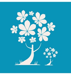 Abstract Tree with Chestnut Leaves on Blue B vector image