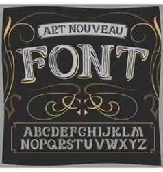 art nouveau label font on a dark backround vector image vector image