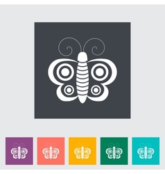 Butterfly flat single icon vector image
