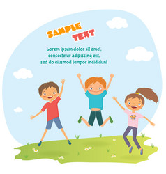 childrens design with happy jumping kids vector image