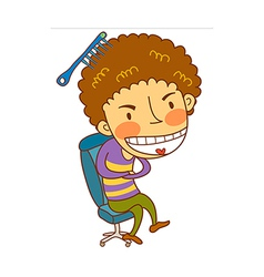 Close-up of boy sitting on chair vector image