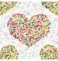 Colorful ornate floral hearts seamless pattern vector