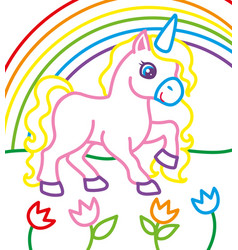 Coloring book of unicorn near rainbow vector