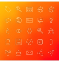 Computer line icons vector