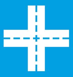 Crossing road icon white vector