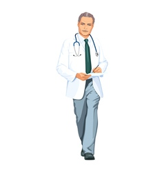 Doctor in a white coat vector