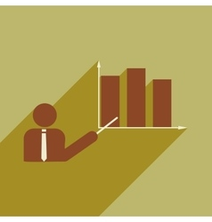 Flat with shadow icon human and economic graph vector