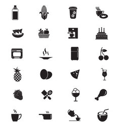 Food solid icons 4 vector