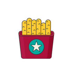 French fries in color flat icon style vector