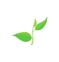 Green tea leaf icon cartoon style vector image
