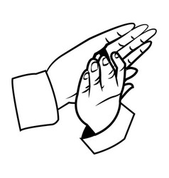 Hands man clapping applause gesture outline vector