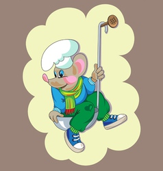 little mouse in ladle vector image vector image