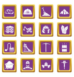 Miner icons set purple vector