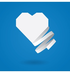 Paper heart with ribbon vector image vector image