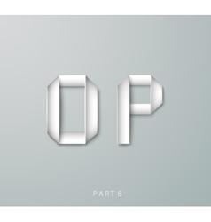 Paper origami alphabet o p with shadows vector