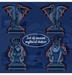Picture ice mystical ancient statues vector