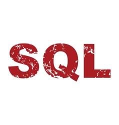 Red grunge sql logo vector
