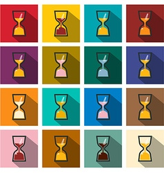 Sand clock icons set flat design long shadow retro vector